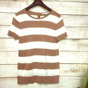LOFT Brown & White Stripped Shirt With Button Back